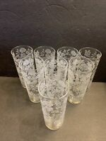 "VTG Libbey Set Of 8 High Ball Drinking Glasses w/ White Frosted Roses 6.5"" tall"