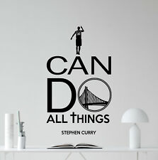 I Can Do All Things Stephen Curry Quote Wall Decal Vinyl Sticker Poster 144bar