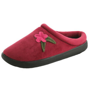 Coolers Womens Burgundy Soft Cosy Warm slip-on Mule hard sole House Slippers New