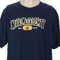 United States Naval Academy T Shirt Navy Blue Cotton Size 2XL