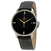 Rado Men's Watch Coupole Classic Automatic Black Dial Leather Strap R22860715