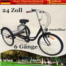 """Dreirad für Erwachsene 24"""" 6-Gang Erwachsenendreirad mit Licht und Korb 3 Räder"""
