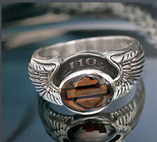 Harley Womens .925 Silver 110th Anniversary Double Wing w/ Topaz RING (7)