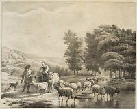 OMMEGANCK, Landschaftsszene mit hirtenden Landleuten, 19. Jh., Litho