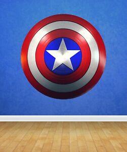Captain America Shield Wall Art Sticker 60cm x 60cm Superhero Kids Boy Marvel