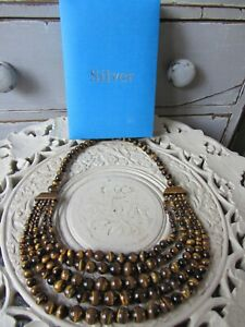 QVC-Beautiful Tigers Eye Multi-Stranded Necklace-Costume Jewellery