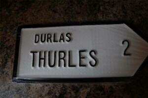 """THURLES Tipperary Old Style Handpainted CAST Irish ROAD SIGN 10.25"""" x 4.5"""" inch"""