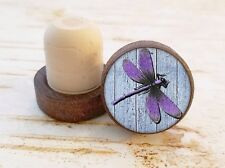 Purple Dragonfly Wine Stopper, Bottle Stopper, Dark Wood Cork Bottle Stopper