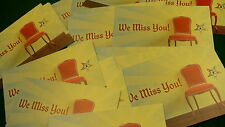 "Eastern star ""We Miss You"" message cards 25 NEW empty chair member retention LOT"