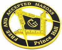 "Masonic 3"" Free and Accepted Masons PRINCE Hall Car Emblem Black // Gold DMCE13"