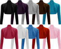 New Ladies Long Sleeve Shrug Womens Bolero Cardigan Top All Colours Sizes 8-14