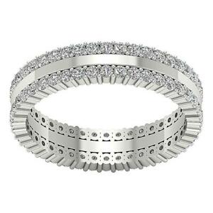 5mm Two Row Genuine Diamond Eternity Anniversary Ring I1 G 1.75Ct 14K Solid Gold