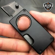 BLACK EDC FOLDING STUB KNIFE MINI SELF DEFENSE POCKET KNIFE BLADE w/ KEYCHAIN