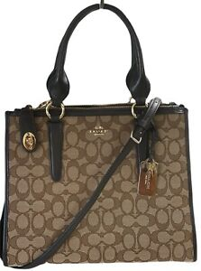 NWOT Coach Crosby Carryall in Signature Jacquard Leather Khaki Brown 33524