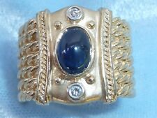 14K Yellow Gold Ring, 7 X 5mm Natural Sapphire, 2, 2mm Diamonds, Size 7.25