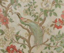Antique French Floral Bird Tree of Life Chintz Cotton Fabric #3 ~ Celadon Coral