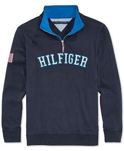 Tommy Hilfiger Boys' Quarter-Zip Varsity Pullover - Blue - Medium Sz 6