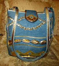 BAGS BY WARREN REED DENIM SHOULDER BAG GOLD METALLIC DETAILS/TRIM10.5 H X 10.5 L