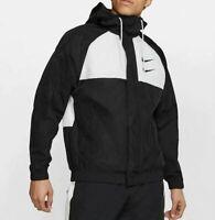🔥 Nike Sportswear Swoosh Woven Hooded Jacket Men's Sz S Black White CJ4888-011