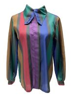 Vintage Cheryl Fiego women's striped blouse button front size 12
