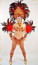 BRAZILIAN RED/GOLD SHOW GIRL  carnival SAMBA CABARET COSTUME bikini/CUSTOM MADE