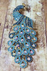CG7177...VERY LARGE RHINESTONE BROOCH OF A PEACOCK  - FREE UK P&P
