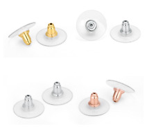 10 Pics/5 pairs 925 Sterling Silver Earrings Findings Clutch Back w Comfort Disc