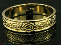 sR019-> GENUINE Solid 18ct 18K GOLD Etched Vintage Wedding Band Ring size S