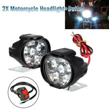 1Pair Spotlight Universal LED Motorcycle Headlight Mirror Mount Fog DRL +Switch