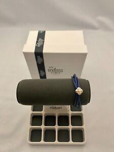 "Endless Jewelry 7.5"" Blue Leather Bracelet w/ Pearl Flower Charm"