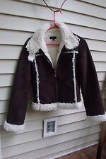 BEBE Small Jacket Coat Brown Faux Suede Microfiber Fur Standing Collar