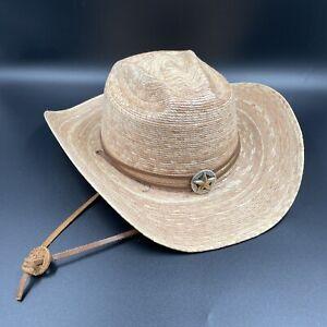 MHT Western Master Hatters Straw Cowboy Hat Star Emblem