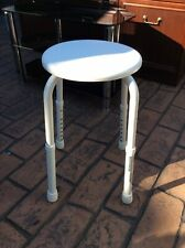 Mobility Bathroom Stool, Height Adustable , White Plastic Top