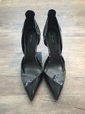 ZARA Women's Contrast Print High Heel Shoes (Navy-blue, US  8/EUR  39)