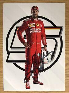 Sebastian Vettel Ak Formula 1 Ferrari Autograph Card 2019 Original Signed