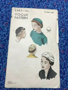 Vintage Vogue Women's Hat Pattern #6483