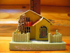 "Vintage Cardboard Paper Christmas Village House Putz Made in Japan 6x3 1/2"" Base"