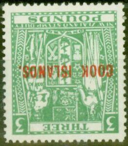 Cook Islands 1953 £3 Green SG135w Wmk Inverted V.F MNH