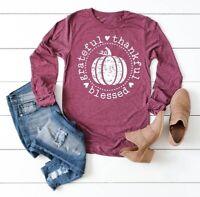 Grateful Thankful Blessed Pumpkin Shirt Womens Long Sleeve Autumn Shirt Tops
