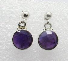 925 Sterling Silver Earrings Amethyst Gemstone Round Ball Post Dangle Earrings