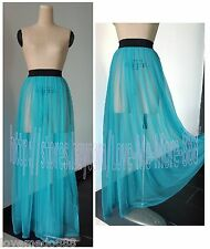 Beach Clubwear Party Sexy See Through Maxi Long Skirt Blue One size Fit S,M,L