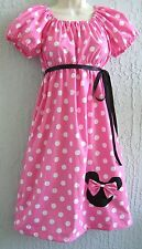 Handmade Minnie Mouse Lady Dress Size S M L Cotton Pink Red Ship Fast!!!