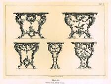 "Historical Art Furniture - ""TABLES, GERMAN WORK""  - Duotone Lithograph - 1880"