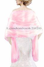 Ladies Women Lovely Evening Dress Silky Rose Pink Shawl Wedding Prom Stole Wrap