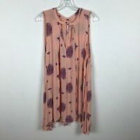 Free People Blouse Size M Peach Purple Sleeveless Boho Geometric Keyhole Rayon