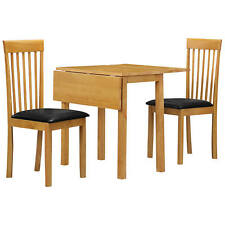 Natural Oak Extending Extendable Dining Table and Chair Set with 2 Black Seats