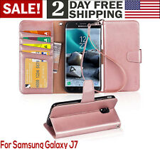 Samsung Galaxy J7 2018 Case PU Leather Wallet Style Card Pocket Phone Cover Pink