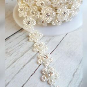 1 Metre Ivory Pearl Daisy with Diamante Centre Trim,. Bridal Wedding  Invites UK