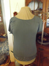 NEW CATO GRAY TUNIC TOP SIZE MEDIUM STUDDED BLING NWT