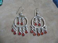 Carnelian & Sterling Silver .925 Round Chandelier dangle Earrings Taxco Mexico